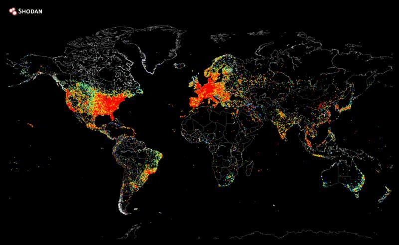 Image - A map of every device in the world that's connected to the internet. I found this pretty interesting how they...