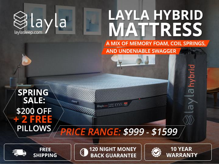 Image - Layla Hybrid Mattress - $200 OFF + 2 Free Pillows - Spring Sale!  Spring Sale! Hybrid Mattress, a mix of #mem...
