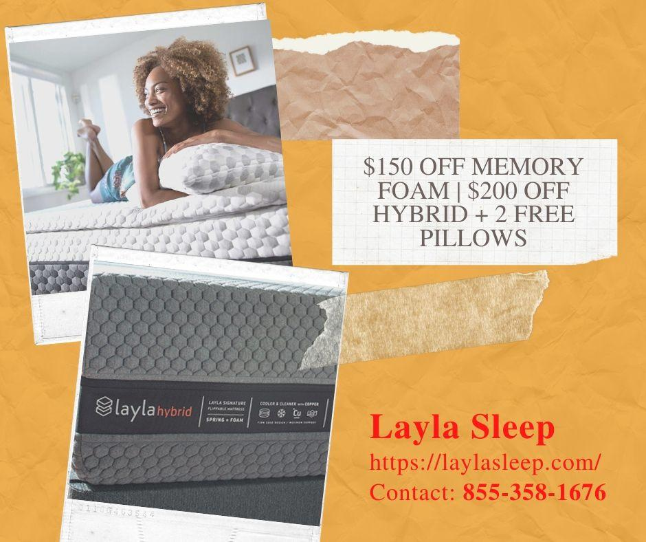 Image - $150 OFF on MEMORY FOAM MATTRESS | $200 OFF on HYBRID MATTRESS + 2 FREE PILLOWS  Get a great discount on Layl...