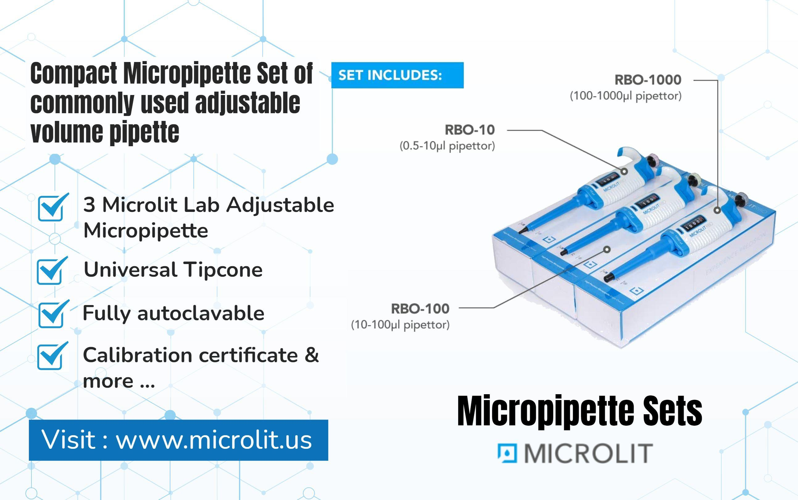 Image - Microlit offers you a set of compact #micropipette that is used as a adjustable volume #pipette. The set incl...