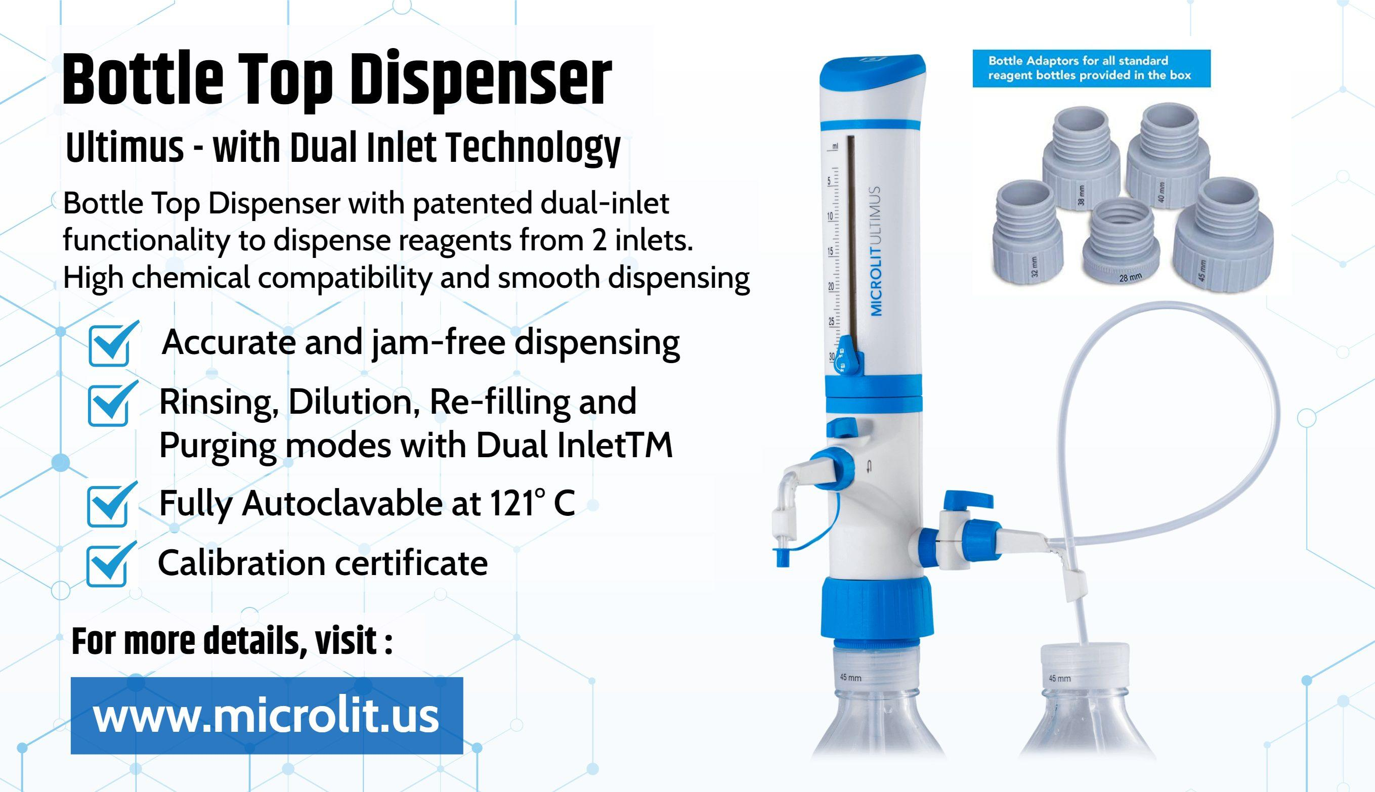 Image - Microlit offers the best #BottleTopDispenser with dual-inlet functionality to dispense reagents from 2 inlets...