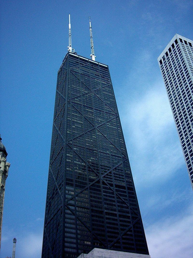 Image - Tyler's homepage background of the Chicago skyline prominently features the John Hancock Center.  John's dead...
